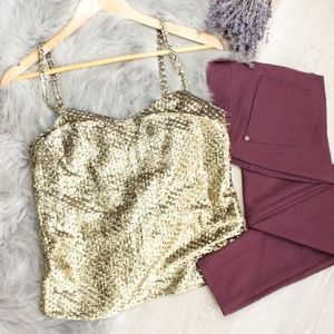 Tops - Vintage Gold Glittery Mesh Tank Top Blouse Med